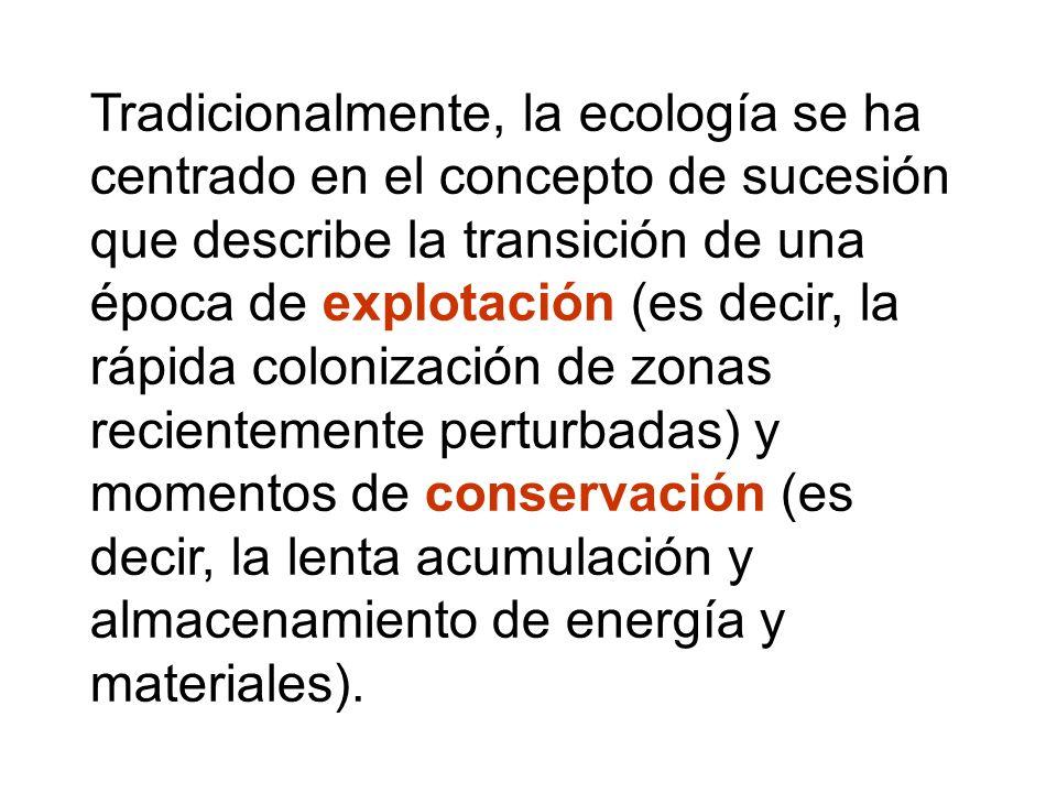Tradicionalmente, la ecología se ha centrado en el concepto de sucesión que describe la transición de una época de explotación (es decir, la rápida colonización de zonas recientemente perturbadas) y momentos de conservación (es decir, la lenta acumulación y almacenamiento de energía y materiales).