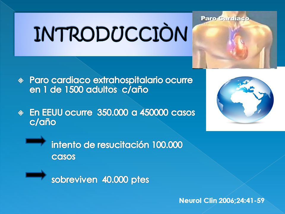 INTRODUCCIÒN Paro cardiaco extrahospitalario ocurre en 1 de 1500 adultos c/año. En EEUU ocurre 350.000 a 450000 casos c/año.