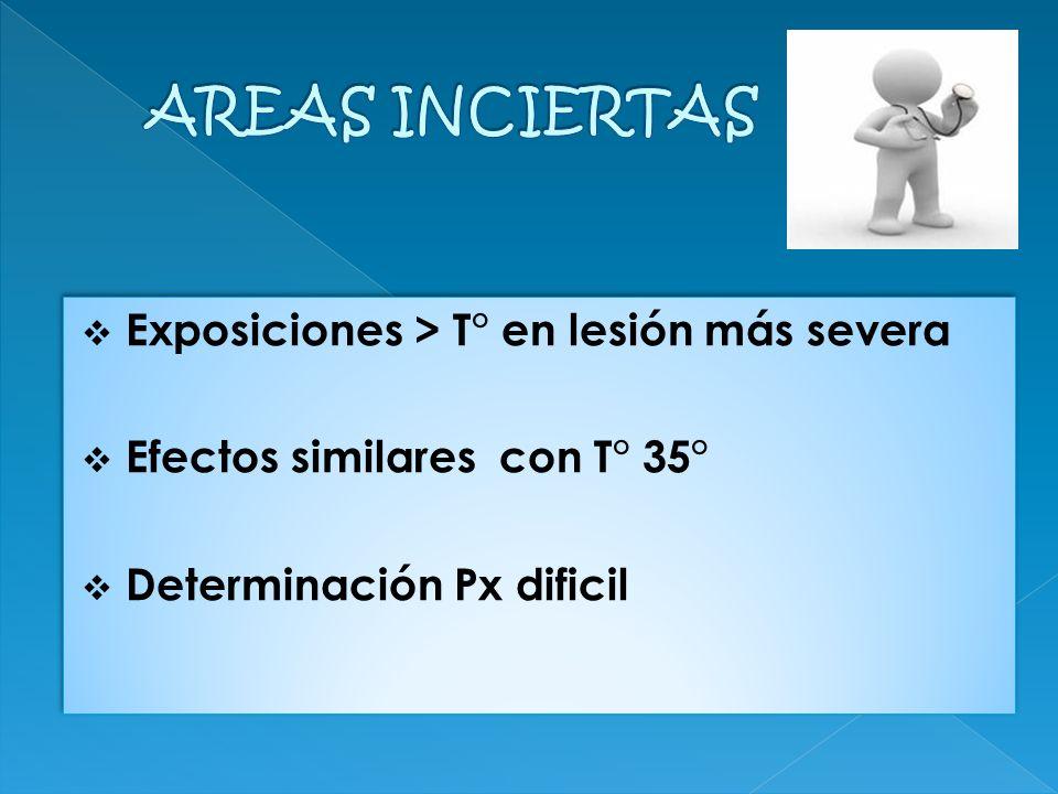 AREAS INCIERTAS Exposiciones > T° en lesión más severa