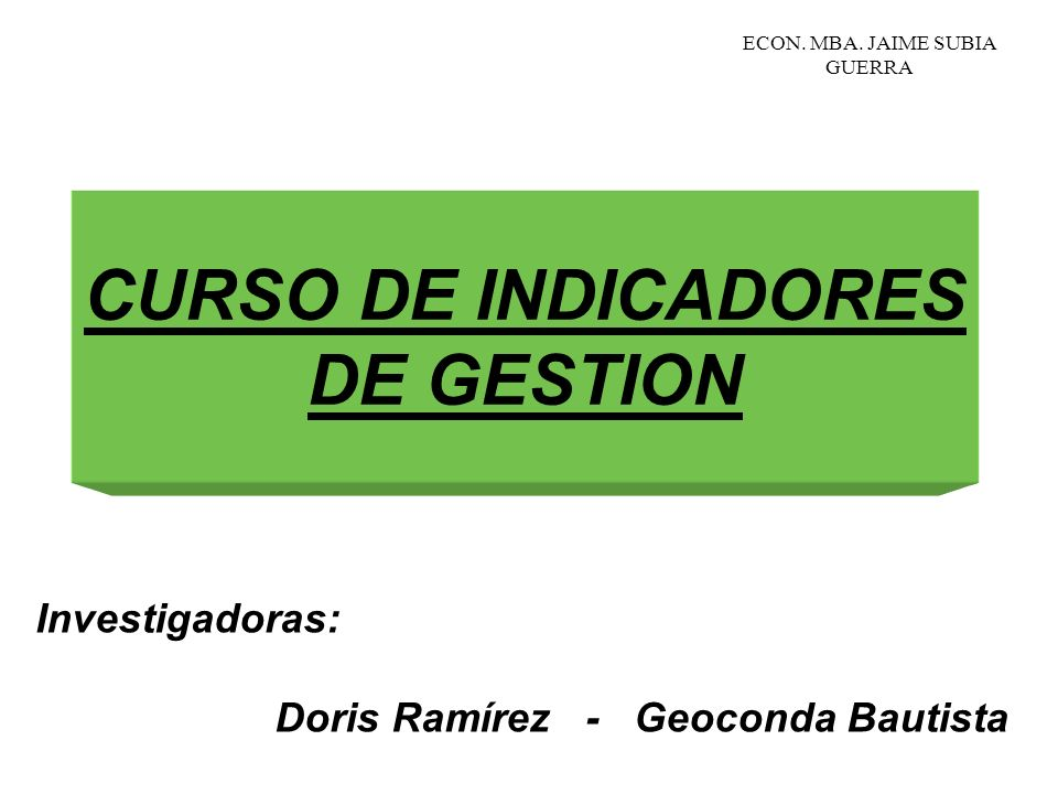 CURSO DE INDICADORES DE GESTION
