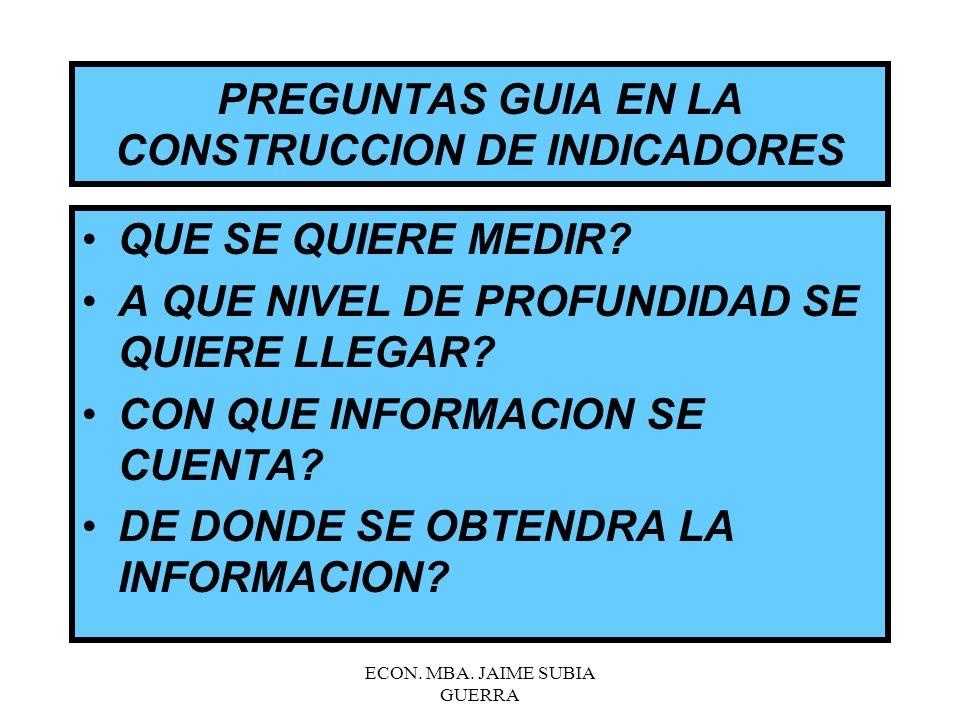 PREGUNTAS GUIA EN LA CONSTRUCCION DE INDICADORES