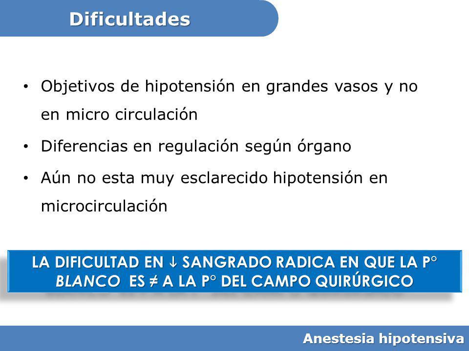 Dificultades Objetivos de hipotensión en grandes vasos y no en micro circulación. Diferencias en regulación según órgano.
