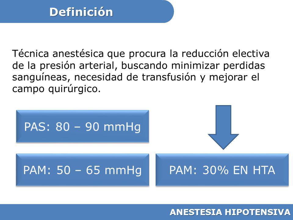 Definición PAS: 80 – 90 mmHg PAM: 50 – 65 mmHg PAM: 30% EN HTA