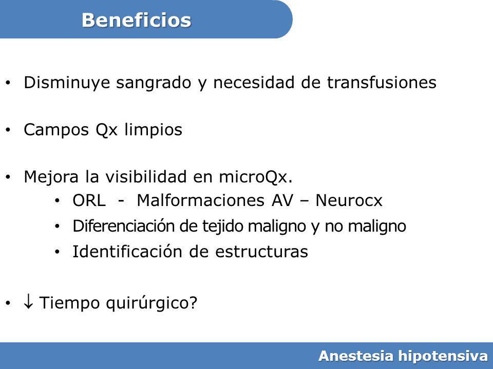 Beneficios Disminuye sangrado y necesidad de transfusiones