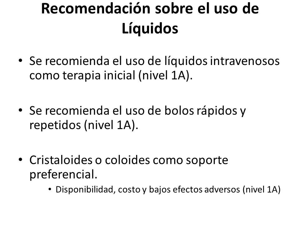 Recomendación sobre el uso de Líquidos