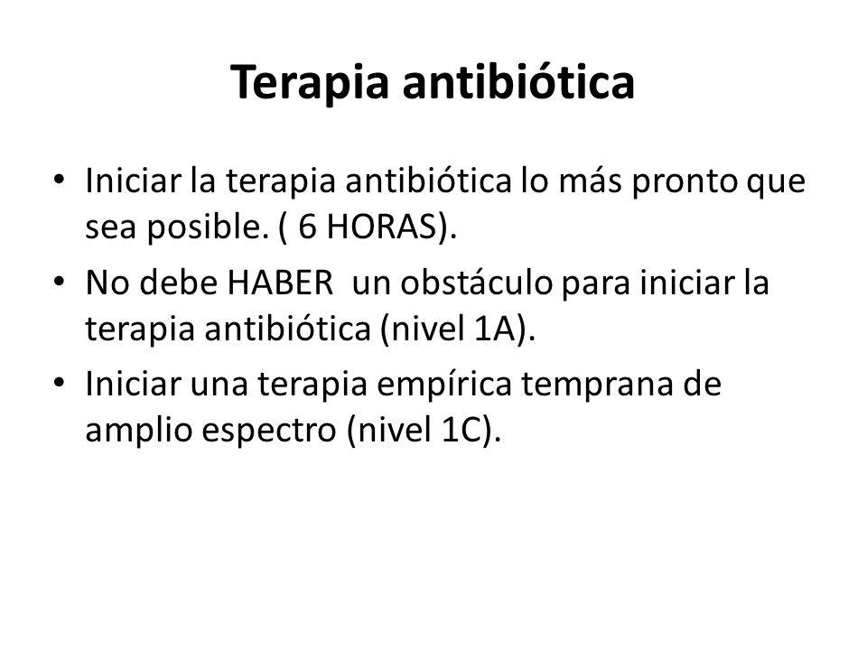 Terapia antibiótica Iniciar la terapia antibiótica lo más pronto que sea posible. ( 6 HORAS).
