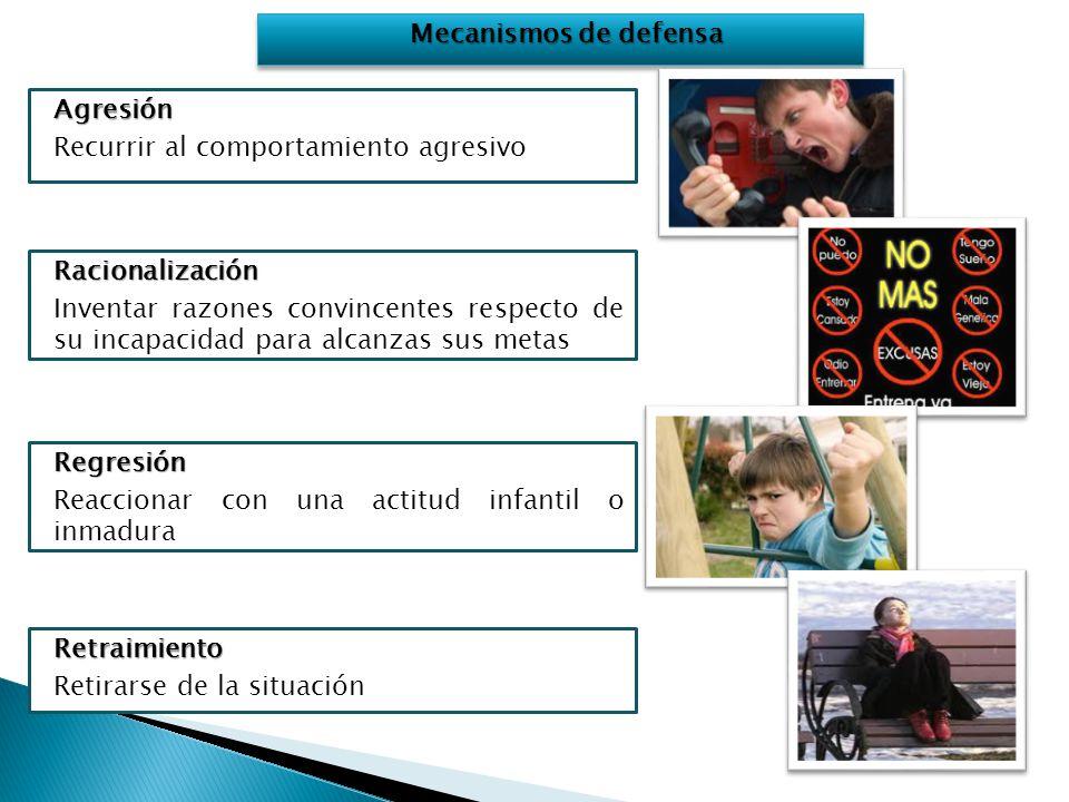 Mecanismos de defensa Agresión. Recurrir al comportamiento agresivo. Racionalización.
