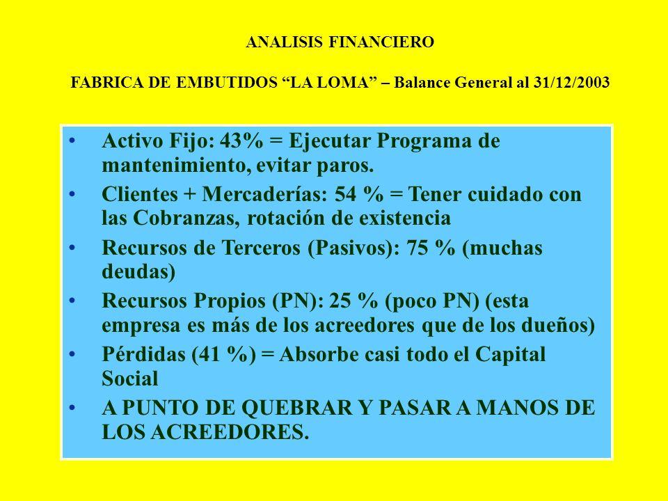 FABRICA DE EMBUTIDOS LA LOMA – Balance General al 31/12/2003