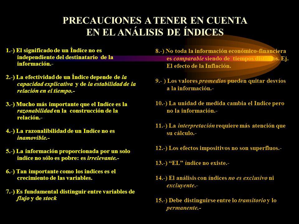 PRECAUCIONES A TENER EN CUENTA EN EL ANÁLISIS DE ÍNDICES