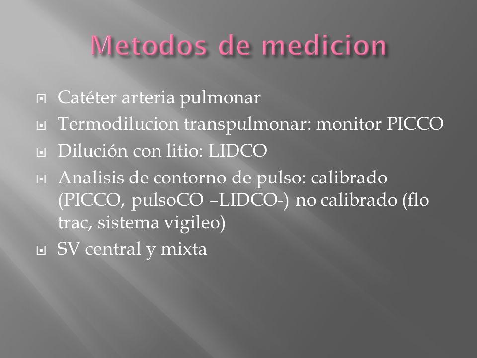 Metodos de medicion Catéter arteria pulmonar