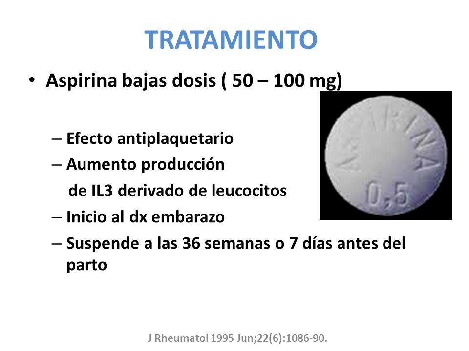 TRATAMIENTO Aspirina bajas dosis ( 50 – 100 mg) Efecto antiplaquetario