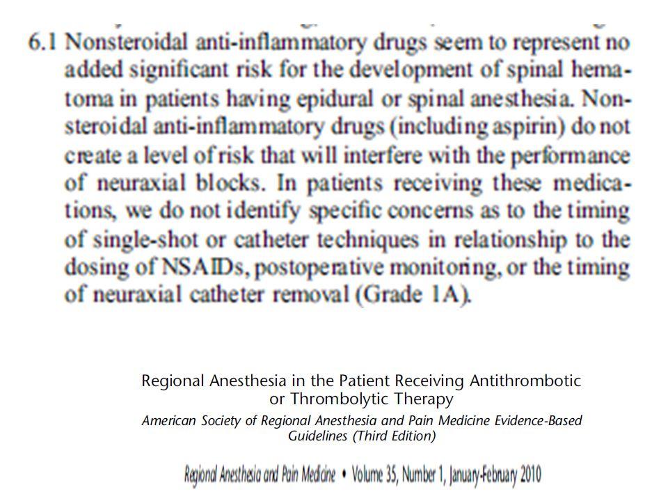 El uso de ASA no es contraindicacion de abordar el neuroeje
