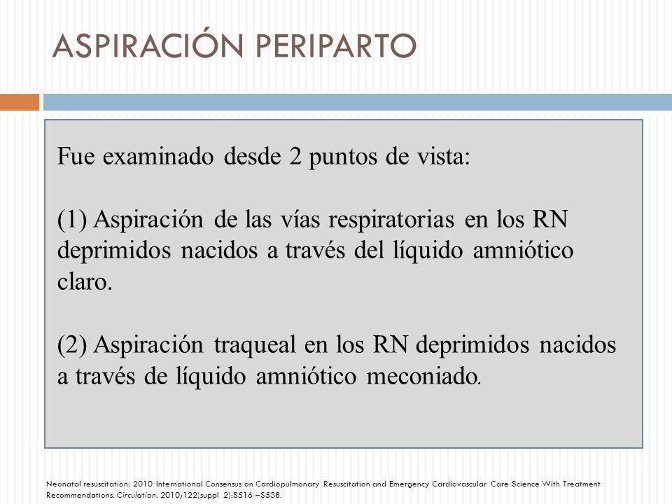 ASPIRACIÓN PERIPARTO Fue examinado desde 2 puntos de vista: