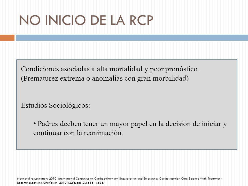NO INICIO DE LA RCP Condiciones asociadas a alta mortalidad y peor pronóstico. (Prematurez extrema o anomalías con gran morbilidad)