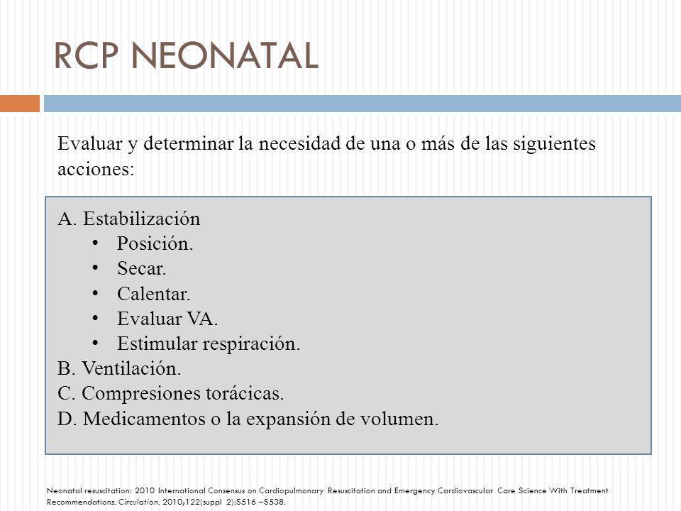 RCP NEONATAL Evaluar y determinar la necesidad de una o más de las siguientes acciones: Estabilización.