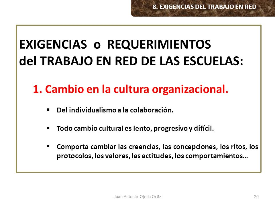 8. EXIGENCIAS DEL TRABAJO EN RED