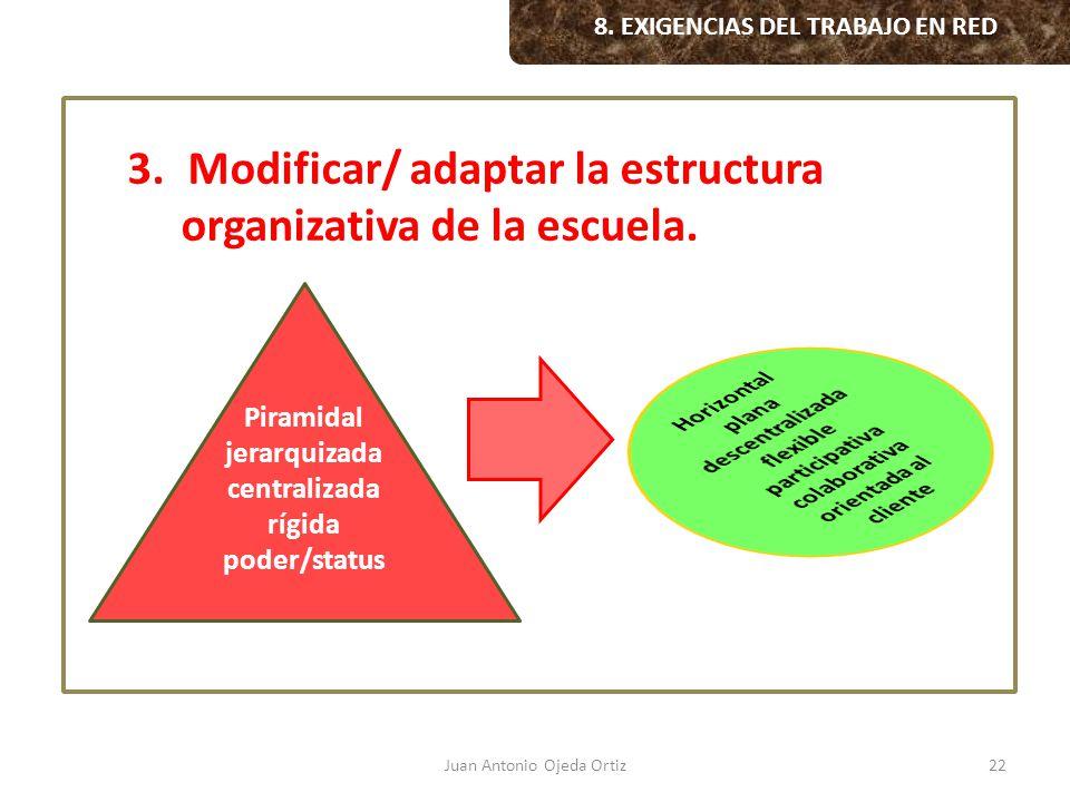 Modificar/ adaptar la estructura organizativa de la escuela.