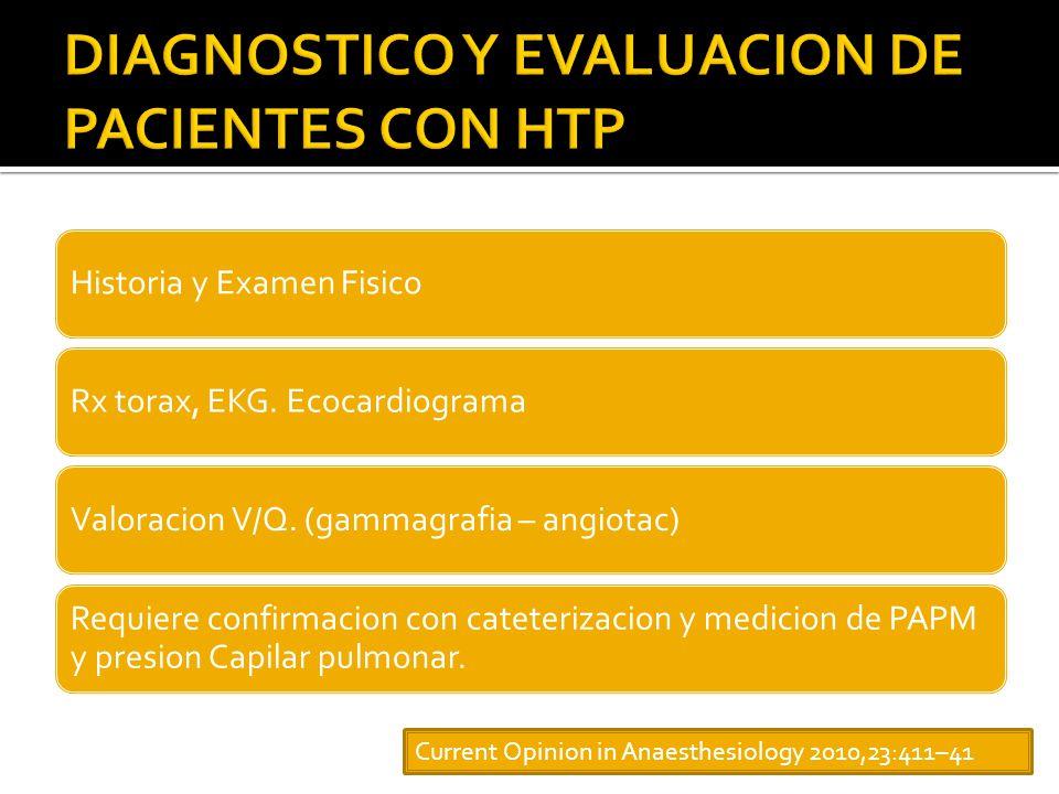 DIAGNOSTICO Y EVALUACION DE PACIENTES CON HTP