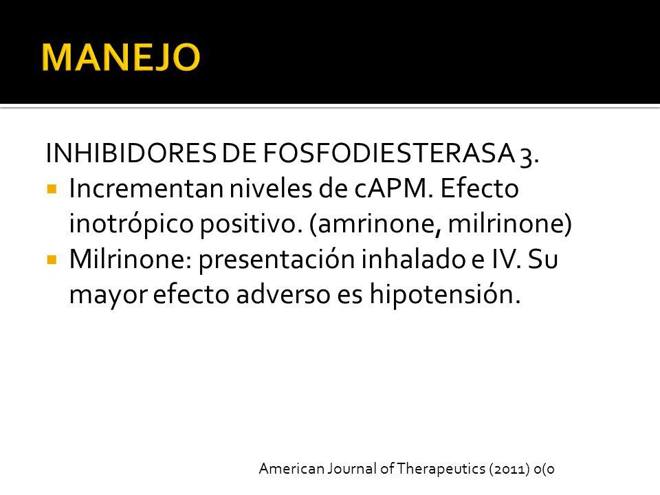 MANEJO INHIBIDORES DE FOSFODIESTERASA 3.