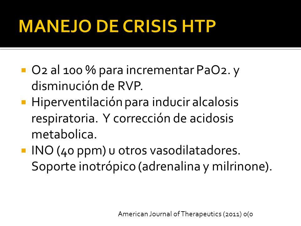 MANEJO DE CRISIS HTP O2 al 100 % para incrementar PaO2. y disminución de RVP.