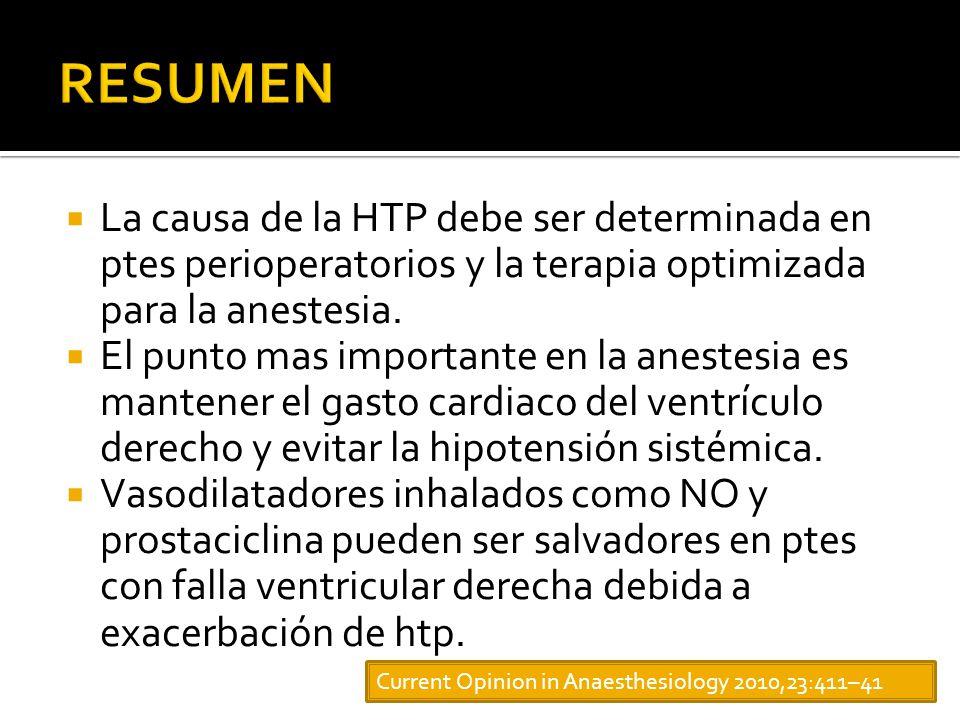 RESUMEN La causa de la HTP debe ser determinada en ptes perioperatorios y la terapia optimizada para la anestesia.