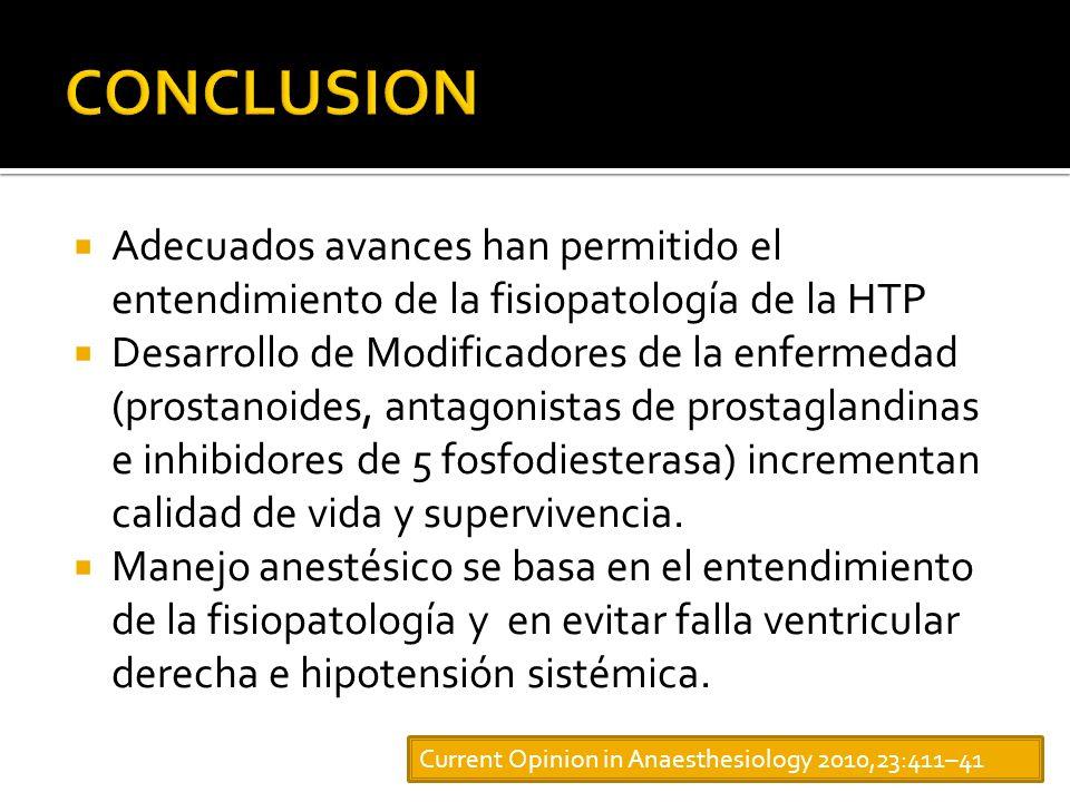 CONCLUSION Adecuados avances han permitido el entendimiento de la fisiopatología de la HTP.