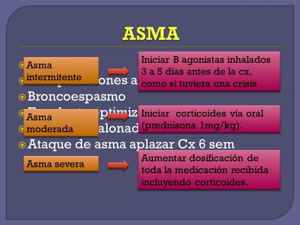 ASMA Común Complicaciones anestesia general Broncoespasmo