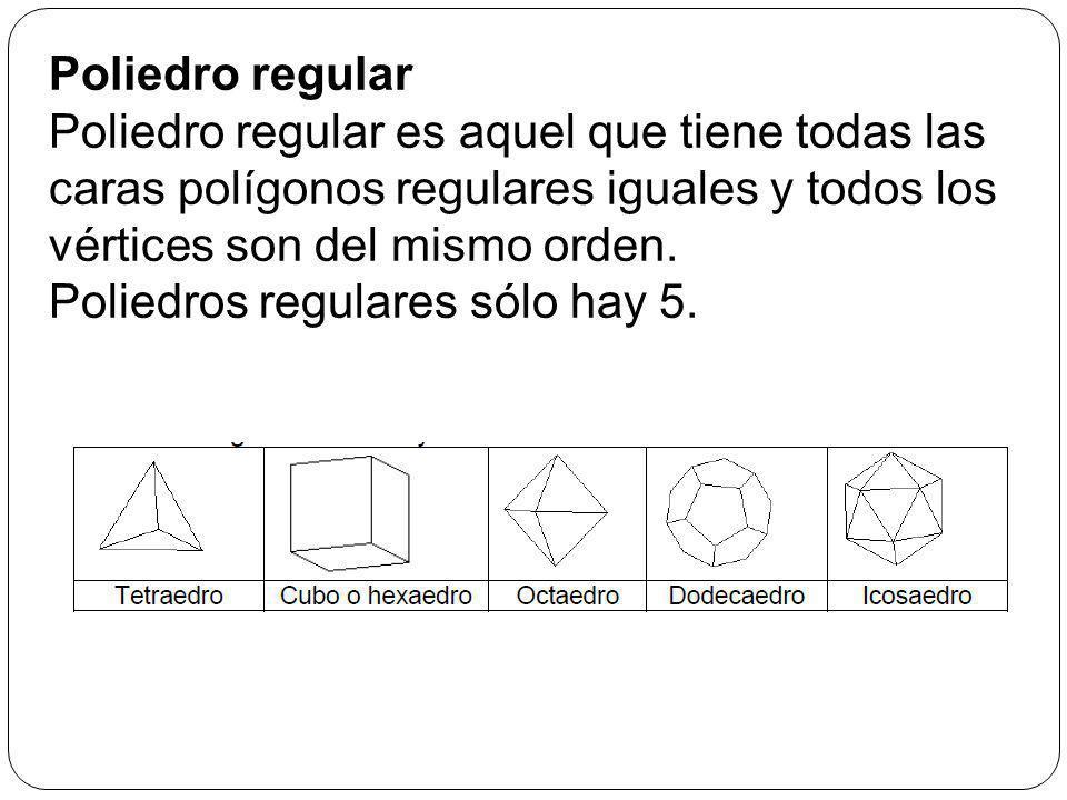 Poliedro regular Poliedro regular es aquel que tiene todas las caras polígonos regulares iguales y todos los vértices son del mismo orden.