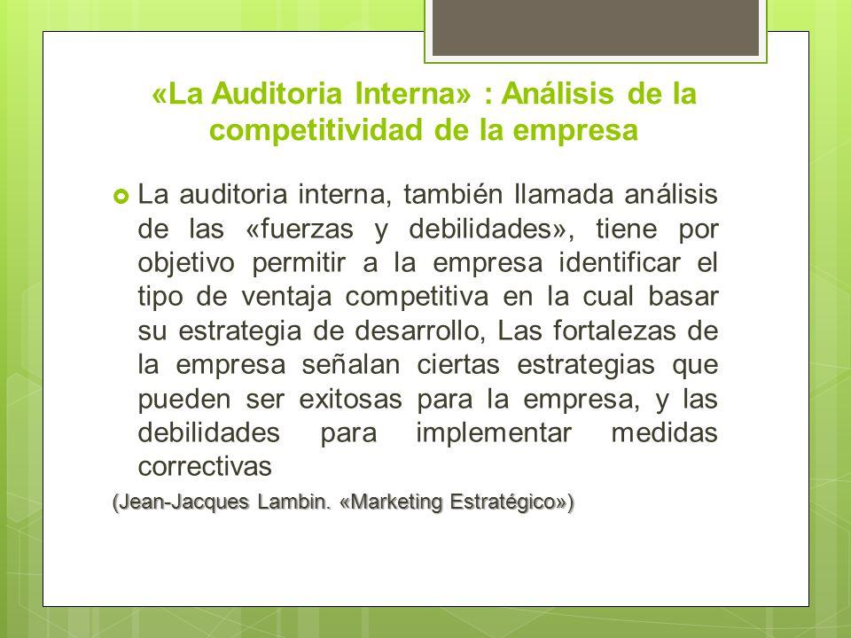 «La Auditoria Interna» : Análisis de la competitividad de la empresa