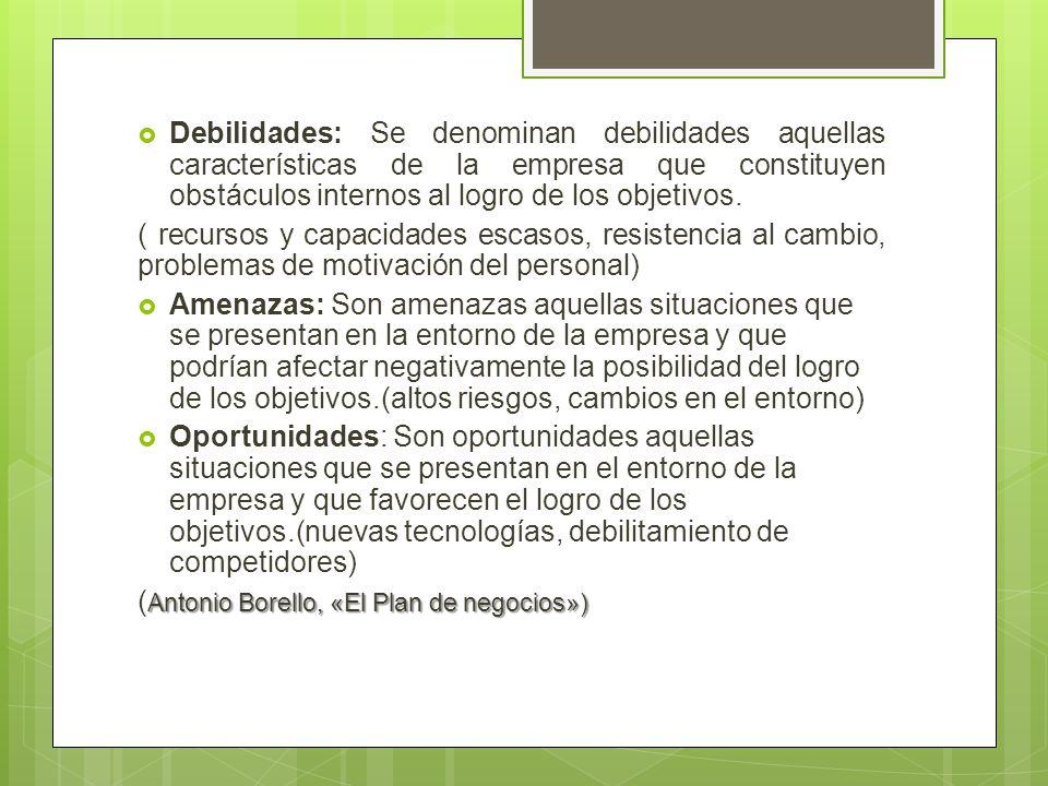 Debilidades: Se denominan debilidades aquellas características de la empresa que constituyen obstáculos internos al logro de los objetivos.