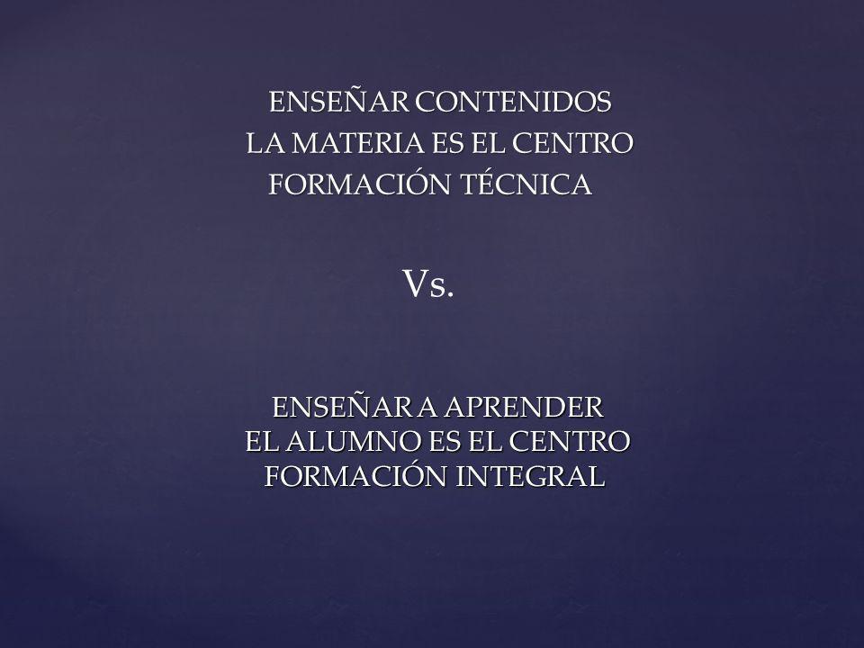 Vs. ENSEÑAR CONTENIDOS LA MATERIA ES EL CENTRO FORMACIÓN TÉCNICA