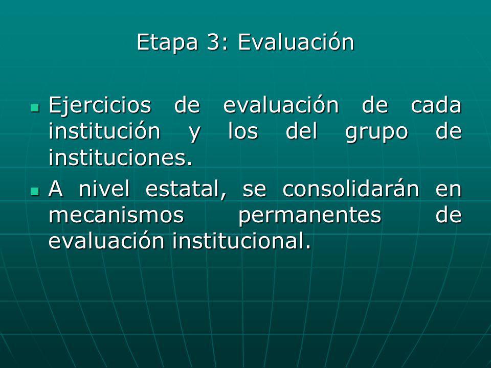 Etapa 3: Evaluación Ejercicios de evaluación de cada institución y los del grupo de instituciones.