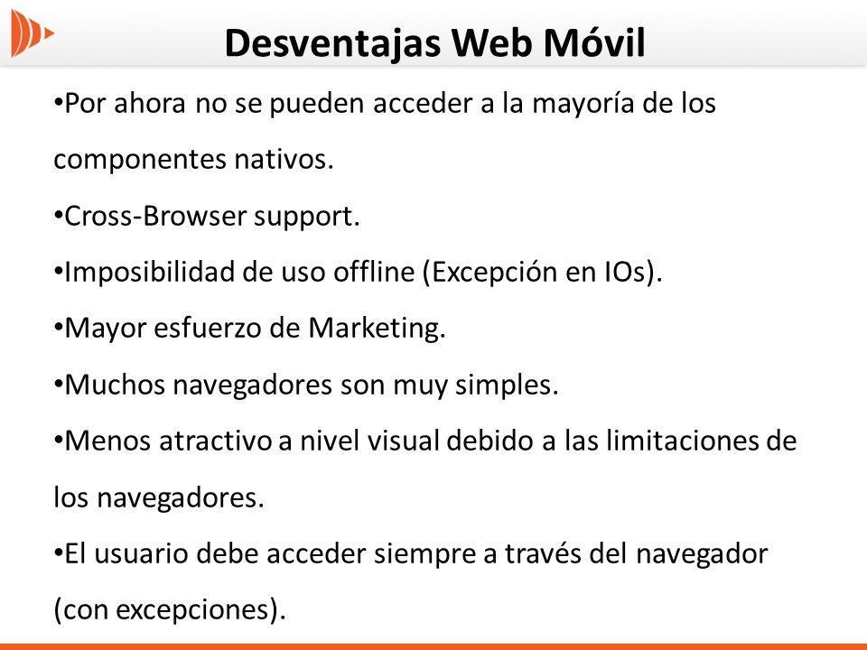 Desventajas Web Móvil Por ahora no se pueden acceder a la mayoría de los componentes nativos. Cross-Browser support.