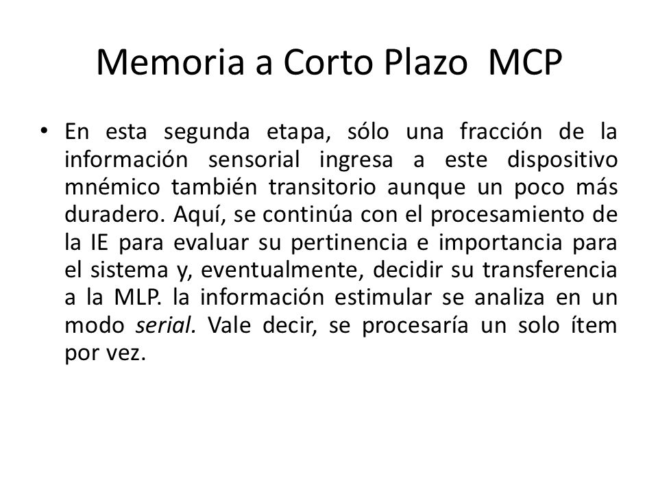 Memoria a Corto Plazo MCP