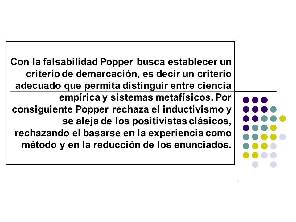 Con la falsabilidad Popper busca establecer un criterio de demarcación, es decir un criterio adecuado que permita distinguir entre ciencia empírica y sistemas metafísicos.
