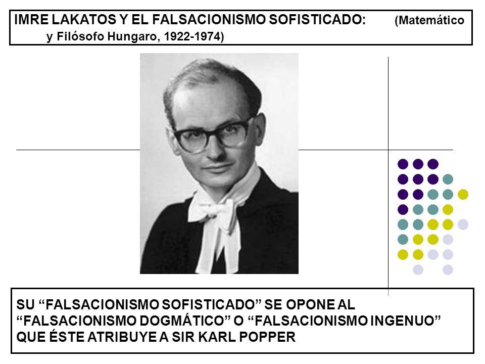 IMRE LAKATOS Y EL FALSACIONISMO SOFISTICADO: (Matemático y Filósofo Hungaro, 1922-1974)