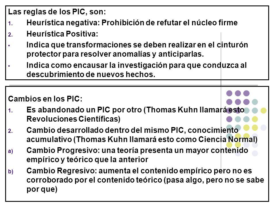 Las reglas de los PIC, son: