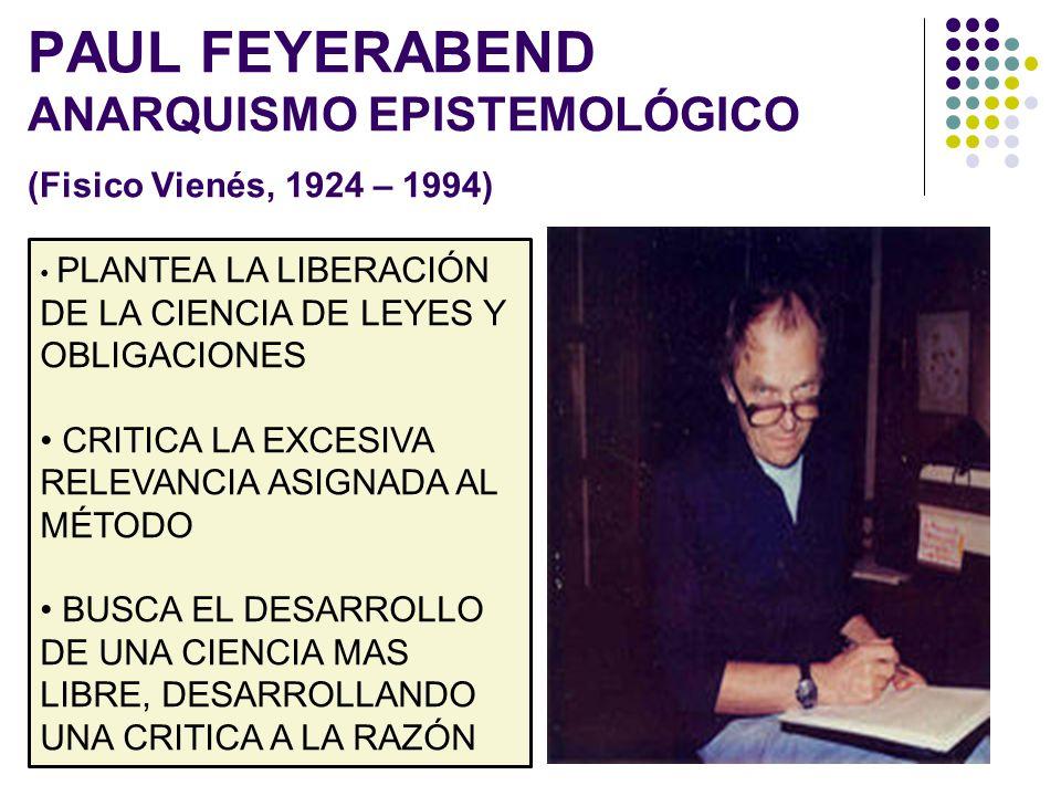 PAUL FEYERABEND ANARQUISMO EPISTEMOLÓGICO (Fisico Vienés, 1924 – 1994)