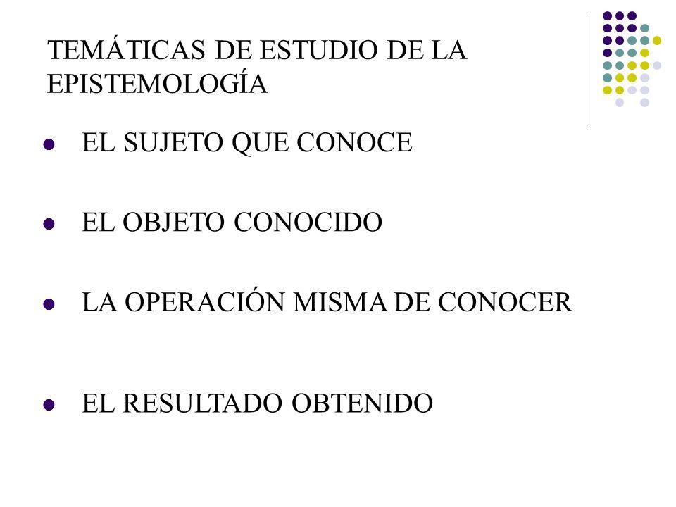 TEMÁTICAS DE ESTUDIO DE LA EPISTEMOLOGÍA