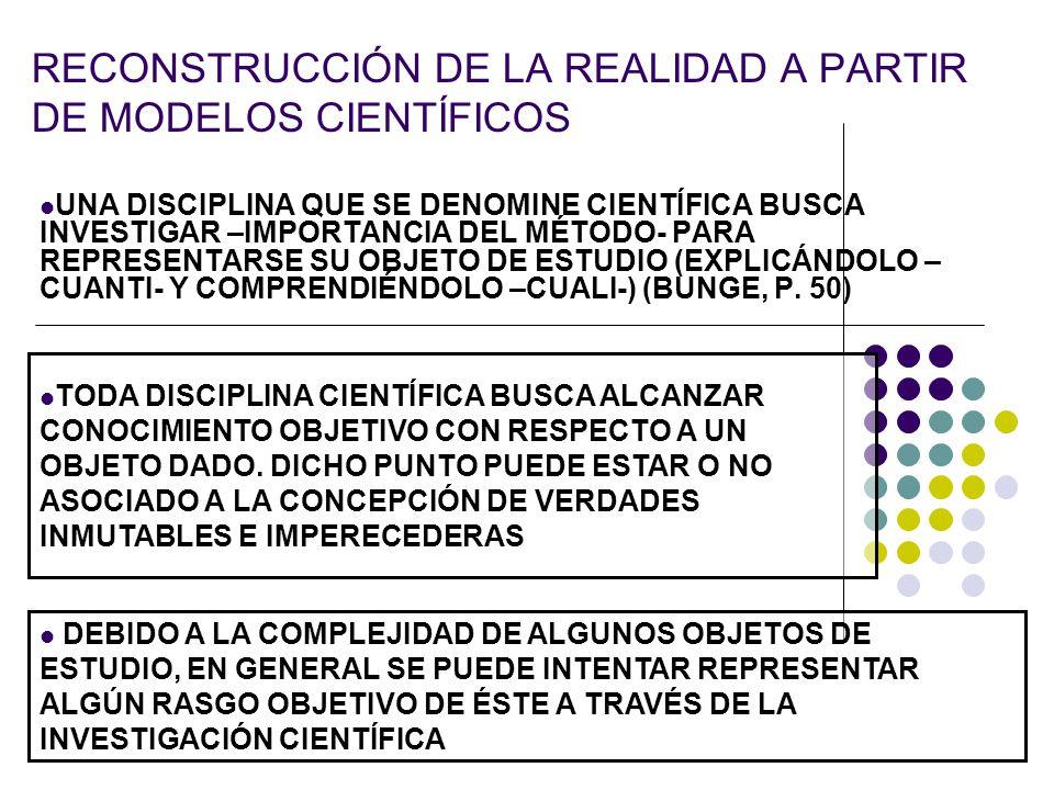 RECONSTRUCCIÓN DE LA REALIDAD A PARTIR DE MODELOS CIENTÍFICOS