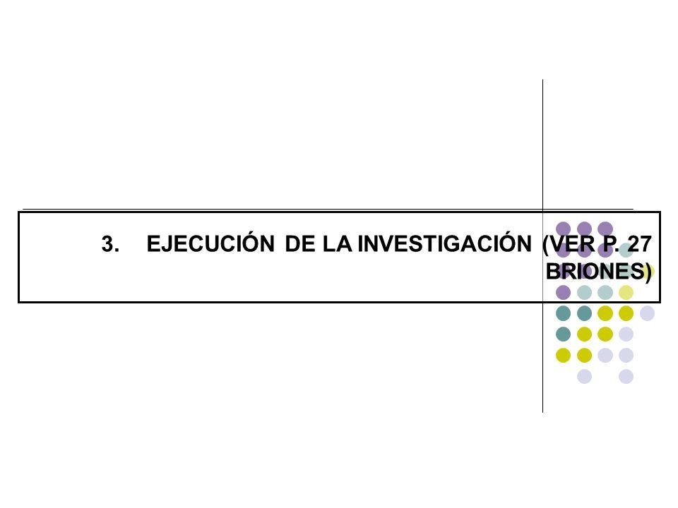 EJECUCIÓN DE LA INVESTIGACIÓN (VER P. 27 BRIONES)