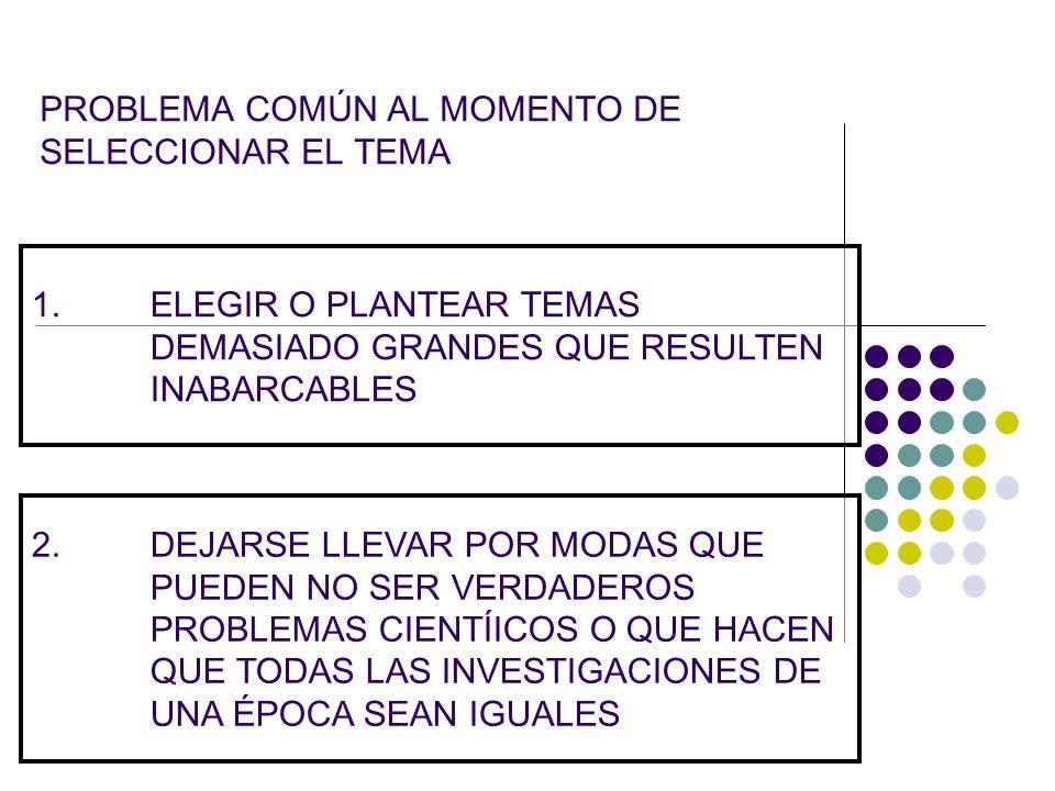 PROBLEMA COMÚN AL MOMENTO DE SELECCIONAR EL TEMA