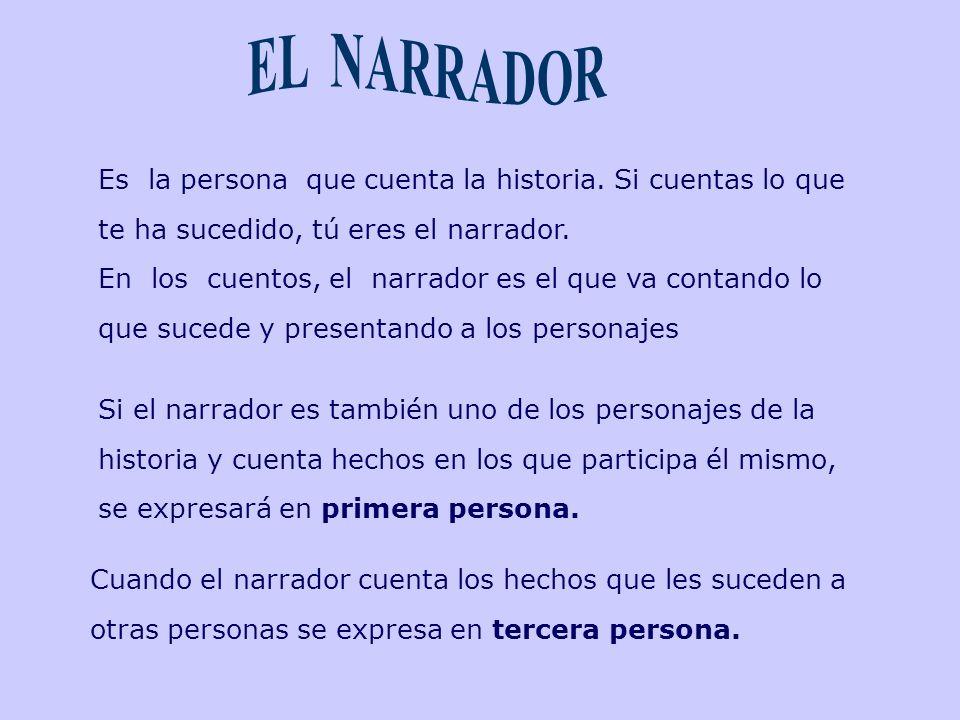 EL NARRADOR Es la persona que cuenta la historia. Si cuentas lo que te ha sucedido, tú eres el narrador.