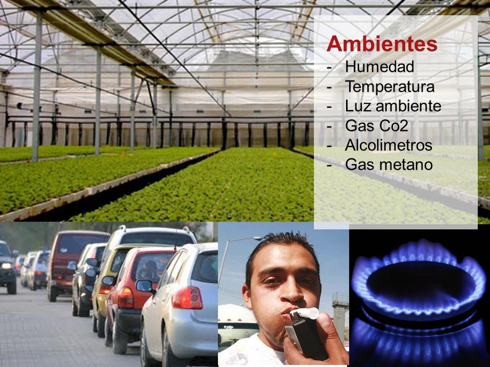 Ambientes Humedad Temperatura Luz ambiente Gas Co2 Alcolimetros