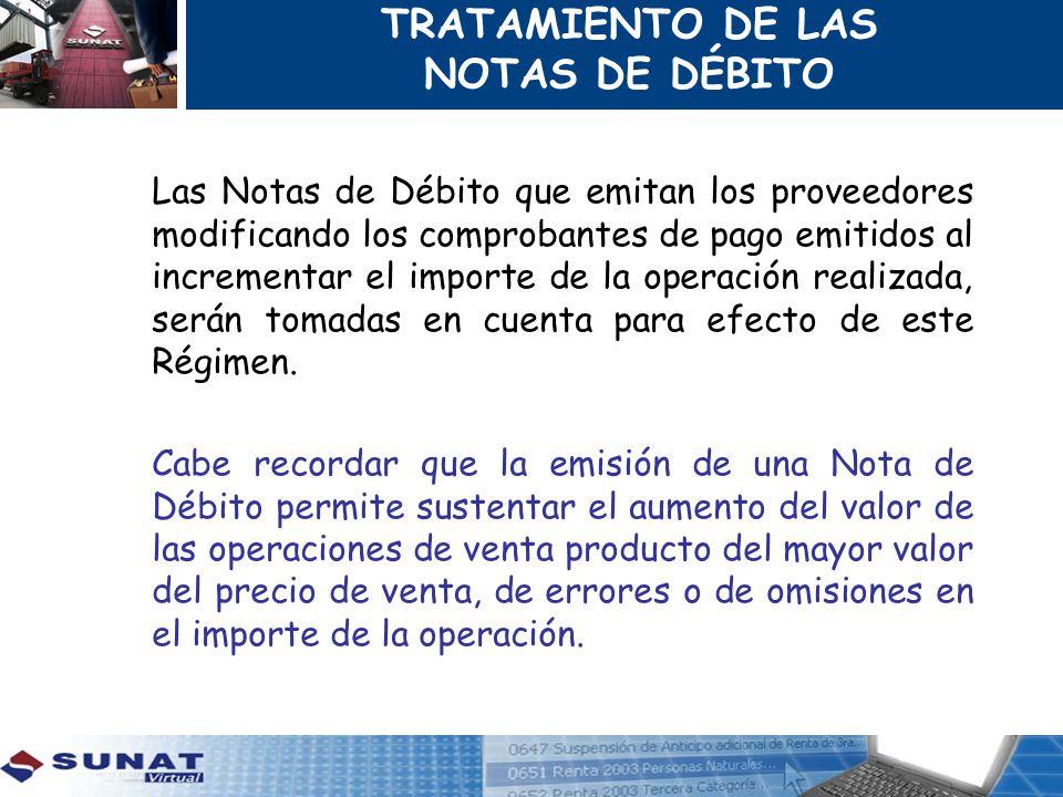 TRATAMIENTO DE LAS NOTAS DE DÉBITO