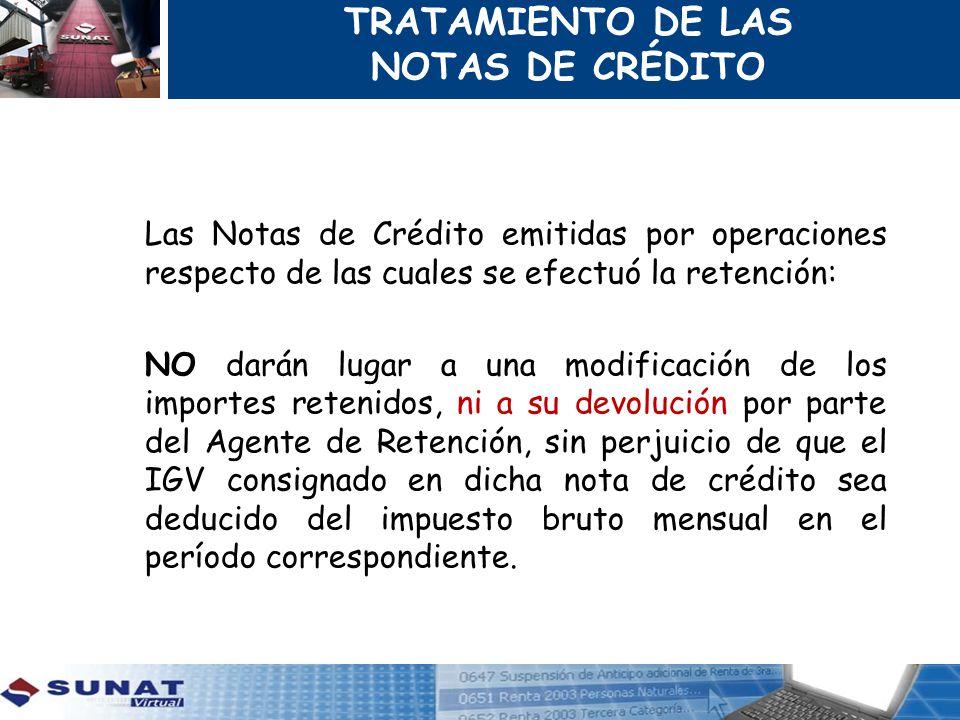 TRATAMIENTO DE LAS NOTAS DE CRÉDITO