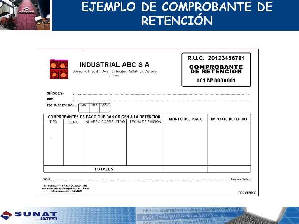 EJEMPLO DE COMPROBANTE DE RETENCIÓN