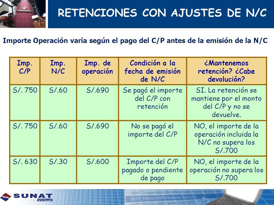 RETENCIONES CON AJUSTES DE N/C