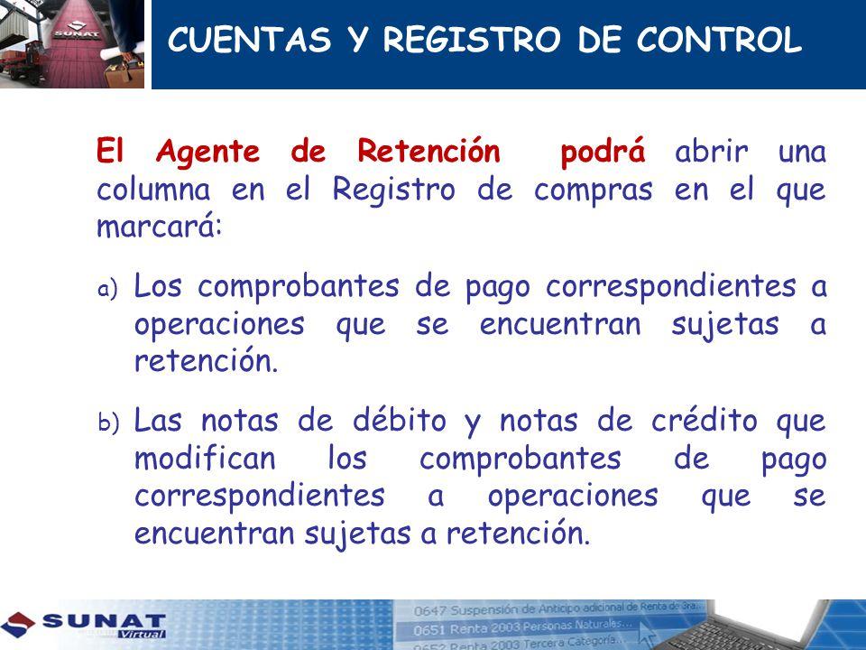 CUENTAS Y REGISTRO DE CONTROL