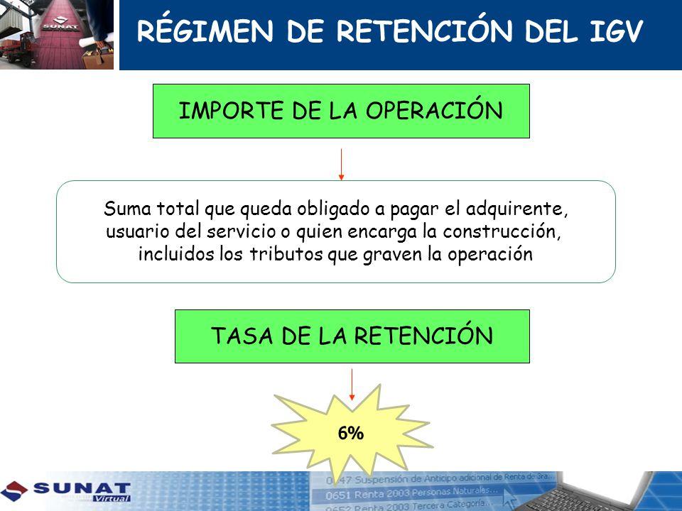 RÉGIMEN DE RETENCIÓN DEL IGV